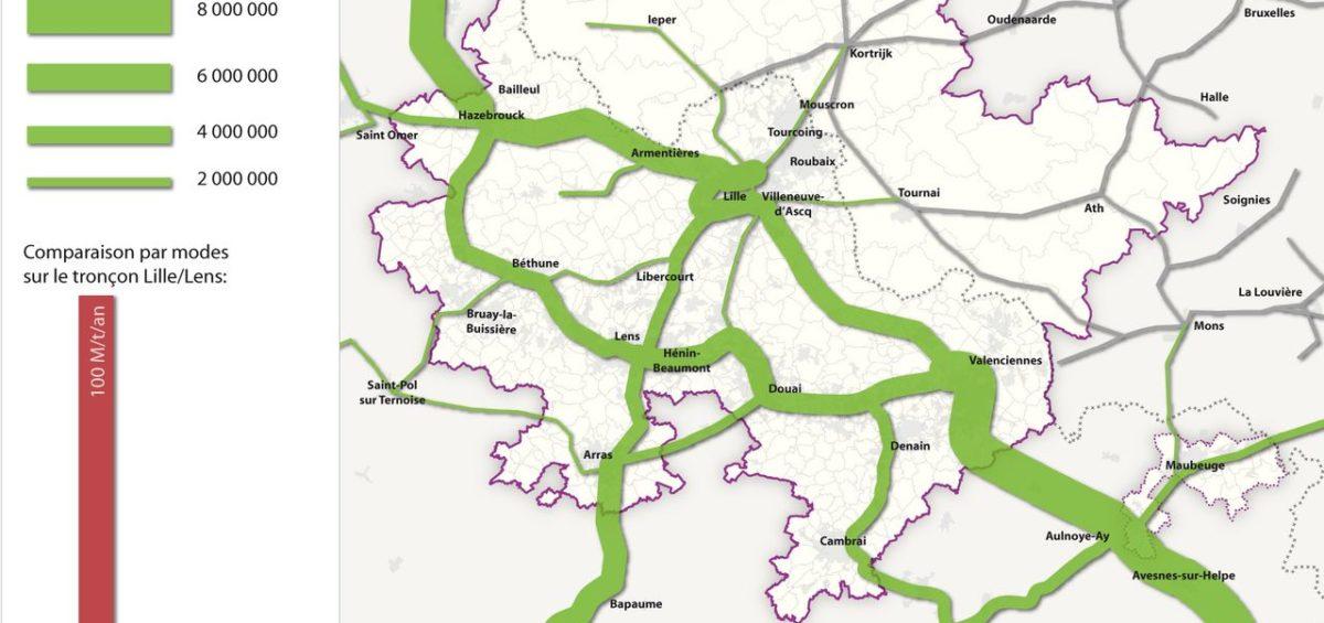 Carte des flux ferroviaires dans l'aire métropolitaine de Lille - Guillaume Sciaux - Cartographe professionnel