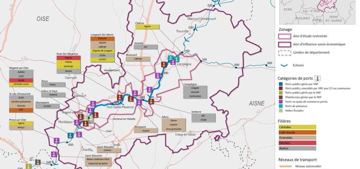 Carte des fillières industrielles présentes dans les ports sur le périmètre MAGEO - Guillaume Sciaux - Cartographe professionnel