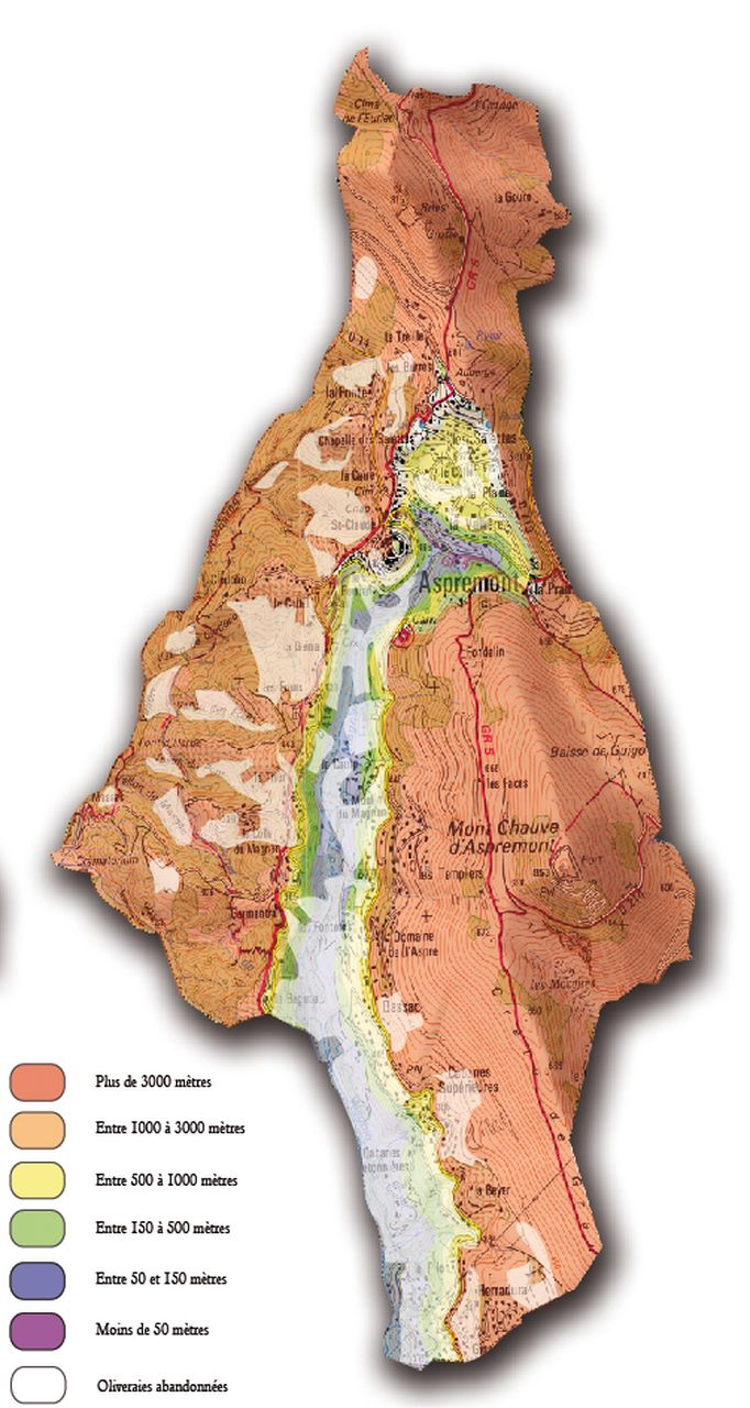 Carte des horizons de vision de la commune d'Aspremont - Guillaume Sciaux - Cartographe professionnel