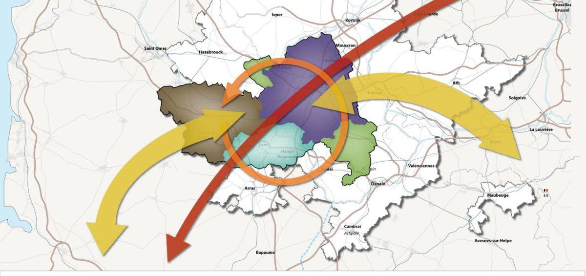 Carte des flux en relation avec l'aire métropolitaine de Lille - Guillaume Sciaux - Cartographe professionnel