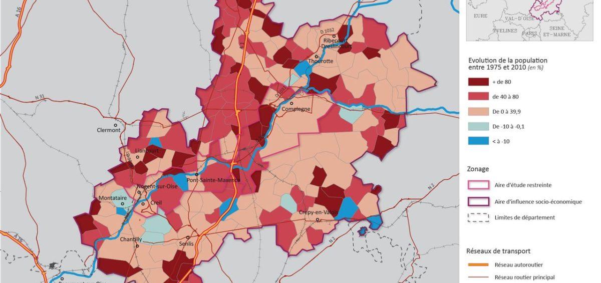 Evolution de la population entre 1975 et 2010 dans le périmètre du projet MAGEO - Guillaume Sciaux - Cartographe professionnel