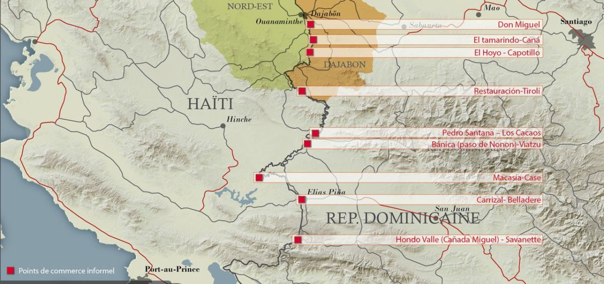 Points de commerce informel entre Haiti et la République Dominicaine - Guillaume Sciaux - Cartographe professionnel