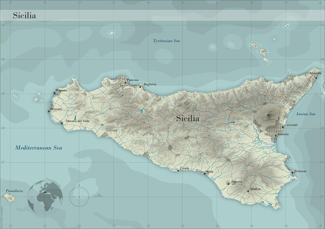 Carte de la Sicile - Guillaume Sciaux - Cartographe professionnel