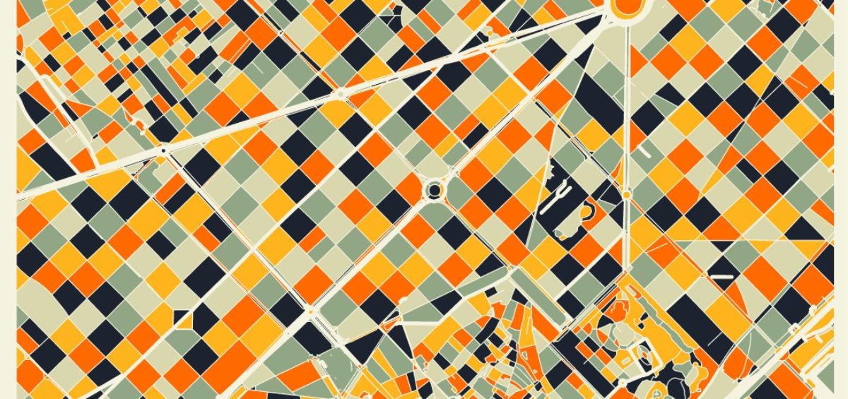 Carte minimaliste de Barcelone 2 - Guillaume Sciaux - Cartographe professionnel