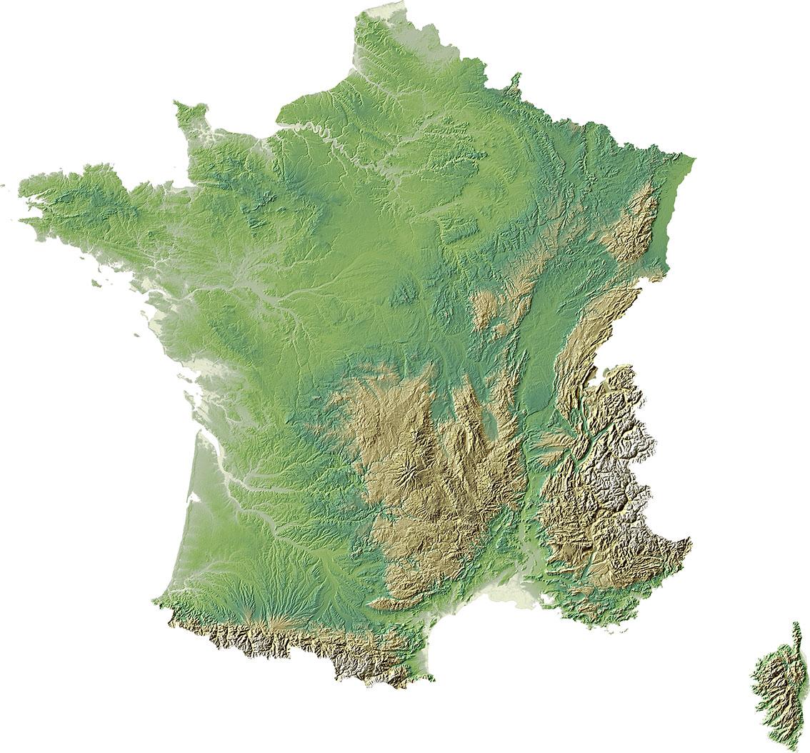 Fond de carte de la France: le relief - Pacha cartographie