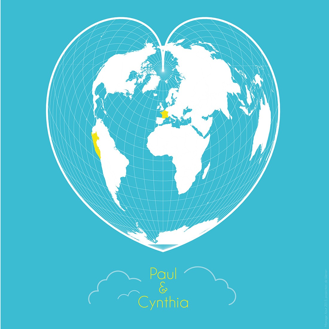 Carte mariage Paul & Cynthia - Guillaume Sciaux - Cartographe professionnel
