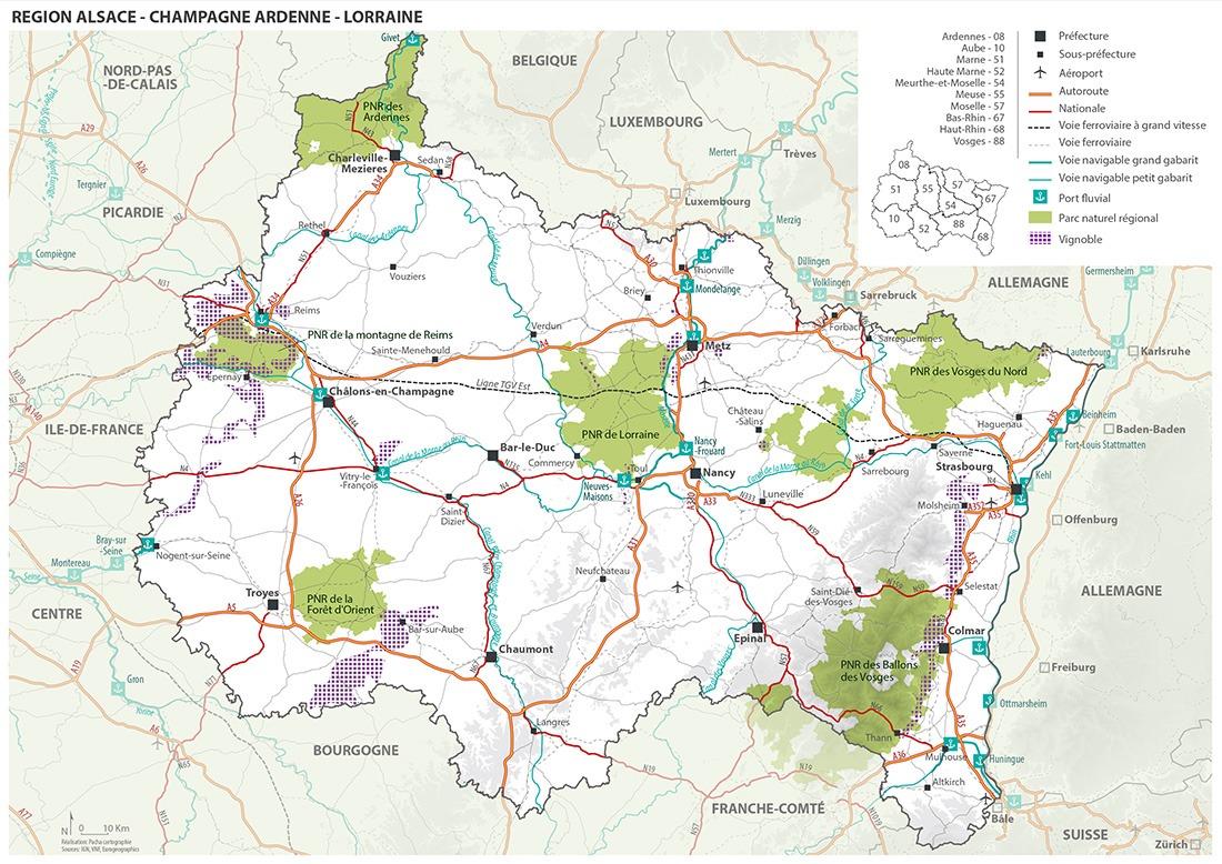 Région Champagne Ardenne Alsace Lorraine - Guillaume Sciaux - Cartographe professionnel