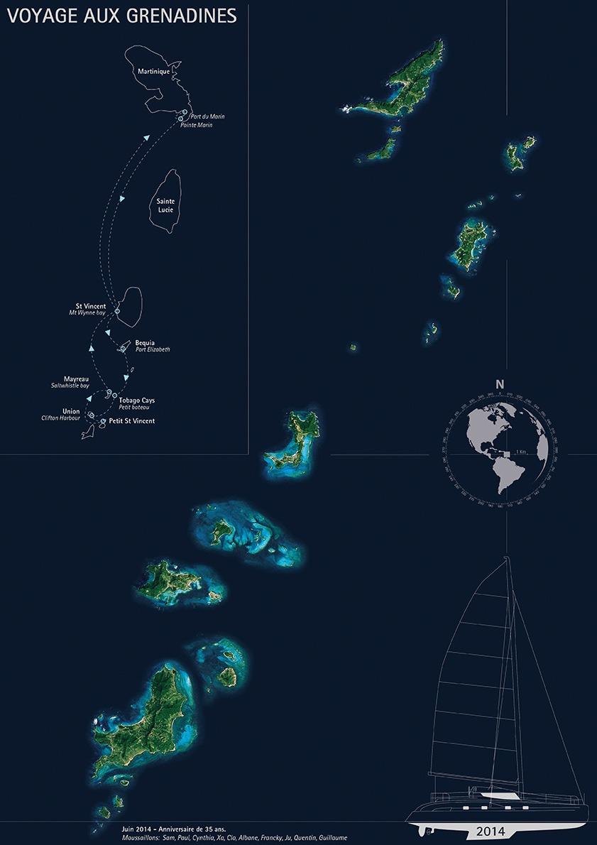 Carte voyage Grenadines - Guillaume Sciaux - Cartographe professionnel