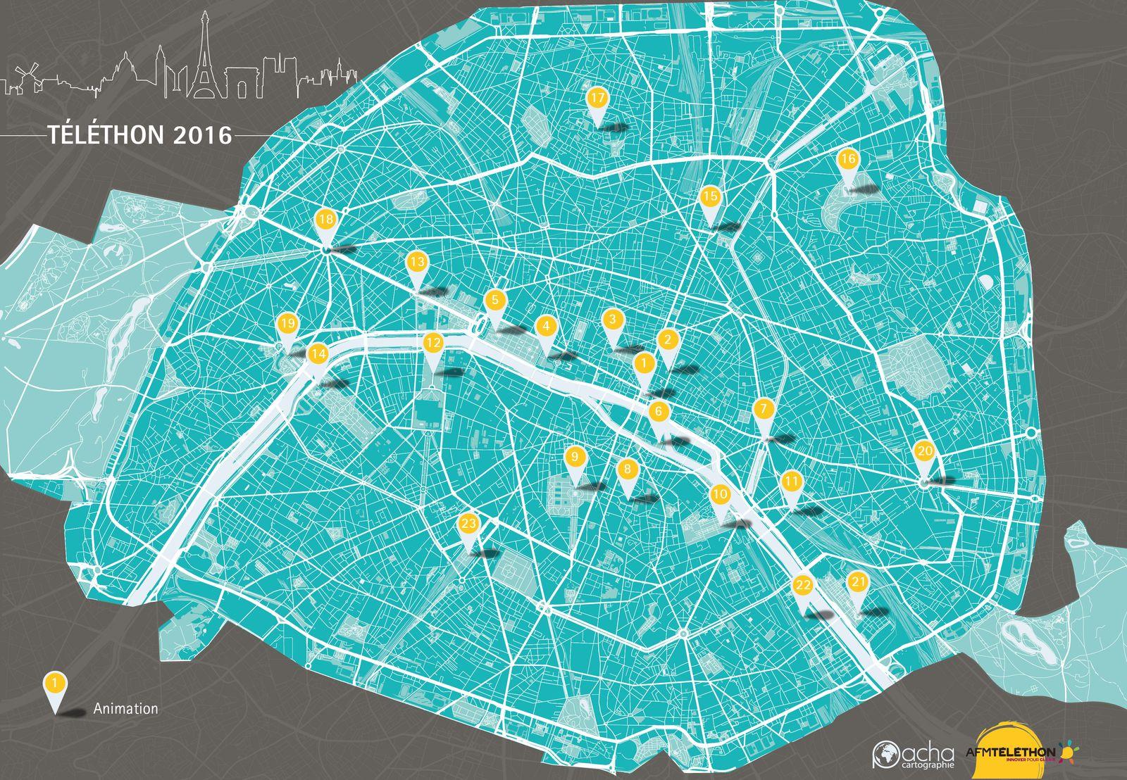 Carte Paris Téléthon 2016 - Guillaume Sciaux - Cartographe professionnel