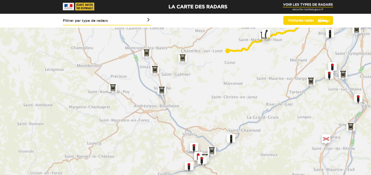 Carte des radars - Guillaume Sciaux - Cartographe professionnel